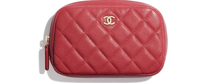 image 1 - Classic Case - Grained Shiny Calfskin & Gold-Tone Metal - Red