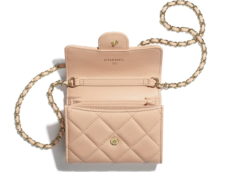 image 2 - Classic Clutch with Chain - Lambskin & Gold-Tone Metal - Light Pink