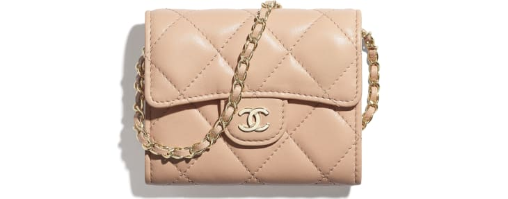 image 1 - Classic Clutch with Chain - Lambskin & Gold-Tone Metal - Light Pink