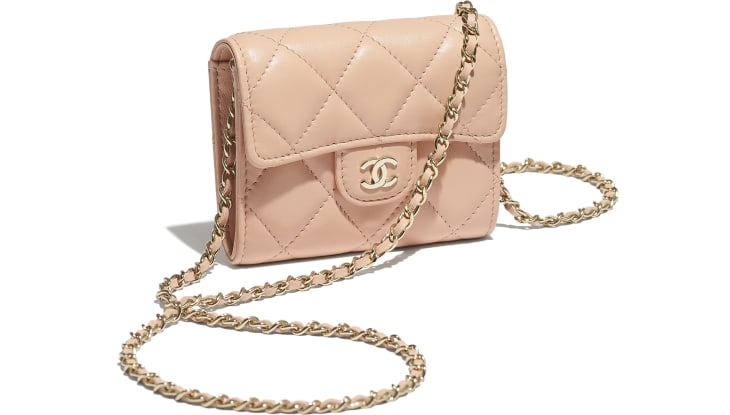 image 4 - Classic Clutch with Chain - Lambskin & Gold-Tone Metal - Light Pink
