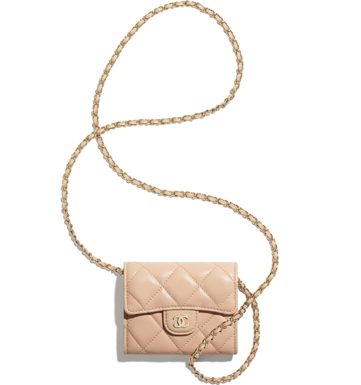 image 3 - Classic Clutch with Chain - Lambskin & Gold-Tone Metal - Light Pink