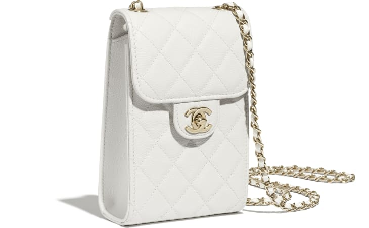 image 3 - Classic Clutch with Chain - Grained Calfskin & Gold-Tone Metal - White