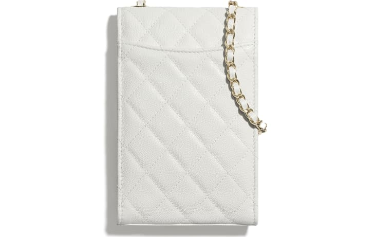 image 2 - Classic Clutch With Chain - Grained Shiny Calfskin & Gold-Tone Metal - White