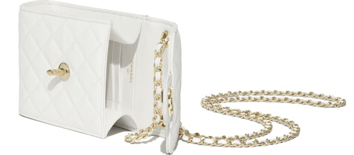 image 4 - Classic Clutch With Chain - Grained Shiny Calfskin & Gold-Tone Metal - White