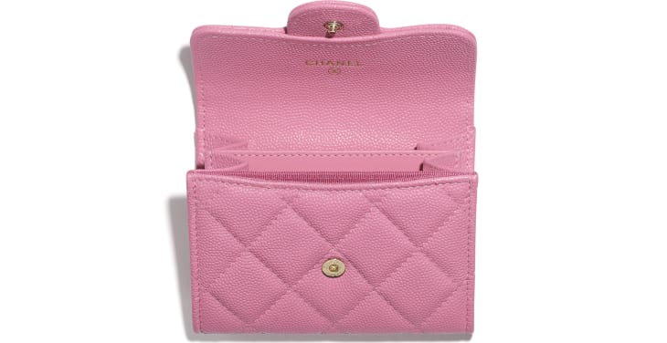 image 2 - Classic Flap Coin Purse - Grained Calfskin & Gold-Tone Metal - Pink