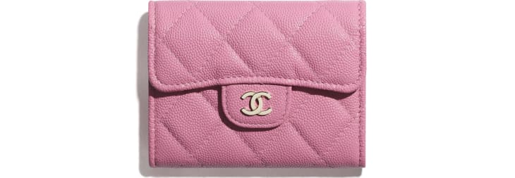 image 1 - Classic Flap Coin Purse - Grained Calfskin & Gold-Tone Metal - Pink