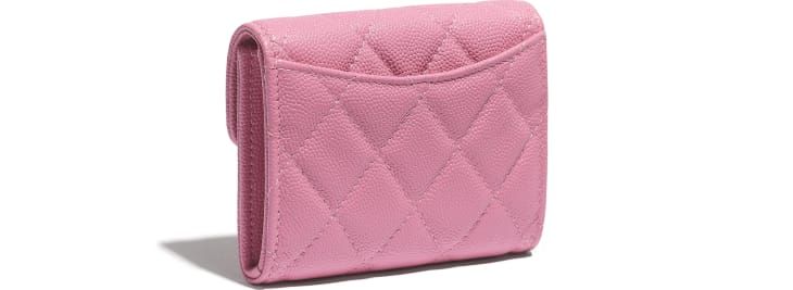 image 4 - Classic Flap Coin Purse - Grained Calfskin & Gold-Tone Metal - Pink