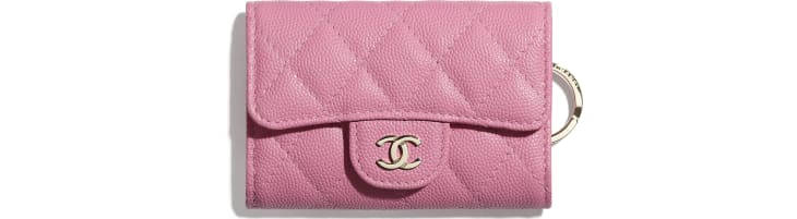image 1 - Classic Flap Key Holder - Grained Calfskin & Gold-Tone Metal - Pink