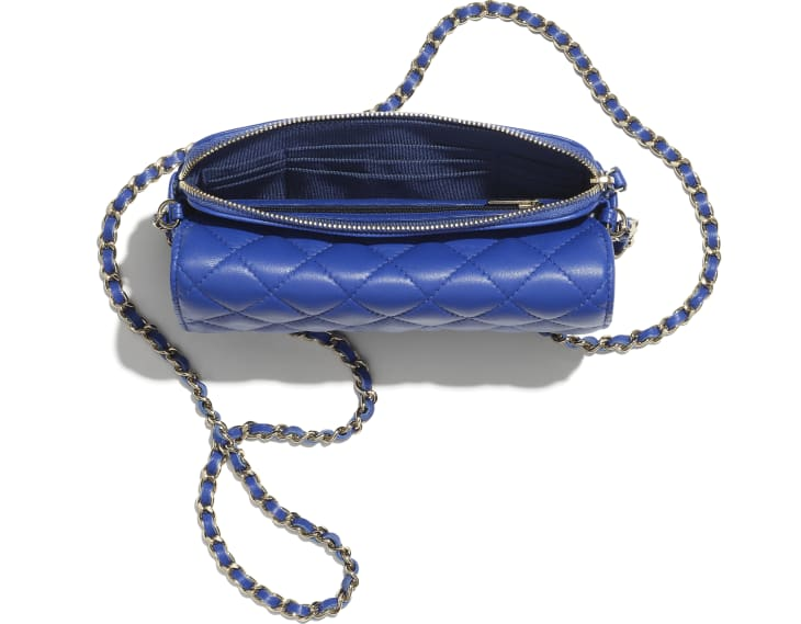 image 2 - Classic Flap Phone Holder with Chain - Lambskin & Gold-Tone Metal - Blue