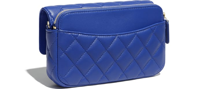 image 4 - Classic Flap Phone Holder with Chain - Lambskin & Gold-Tone Metal - Blue