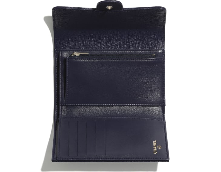image 2 - Classic Flap Wallet - Grained Calfskin & Gold-Tone Metal - Navy Blue
