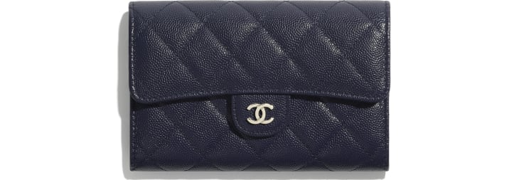 image 1 - Classic Flap Wallet - Grained Calfskin & Gold-Tone Metal - Navy Blue