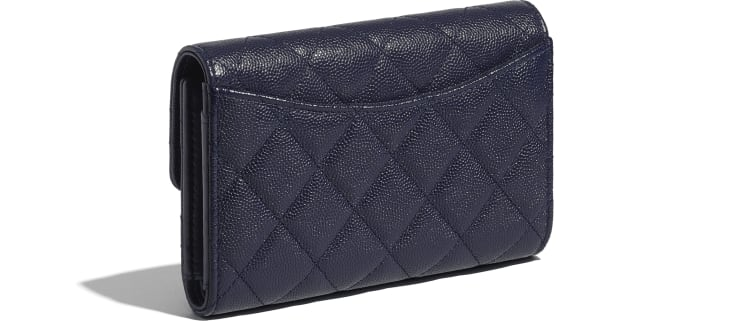 image 4 - Classic Flap Wallet - Grained Calfskin & Gold-Tone Metal - Navy Blue