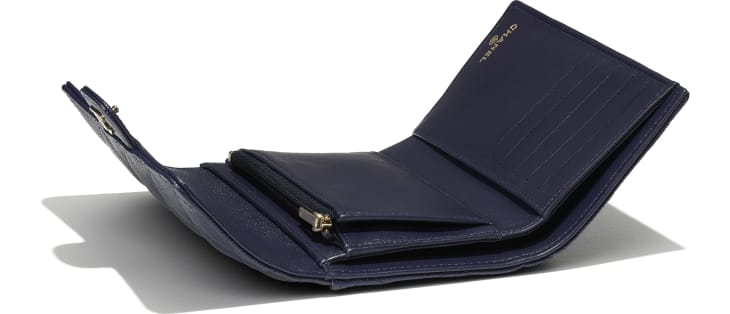 image 3 - Classic Flap Wallet - Grained Calfskin & Gold-Tone Metal - Navy Blue