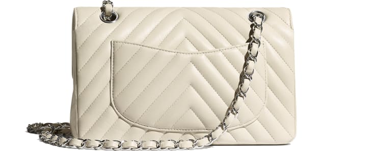 image 2 - Classic Handbag - Lambskin & Silver-Tone Metal - Beige