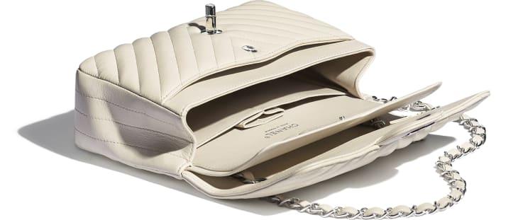 image 3 - Classic Handbag - Lambskin & Silver-Tone Metal - Beige