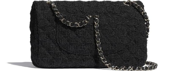 image 2 - Classic Handbag - Tweed & Gold-Tone Metal - Black