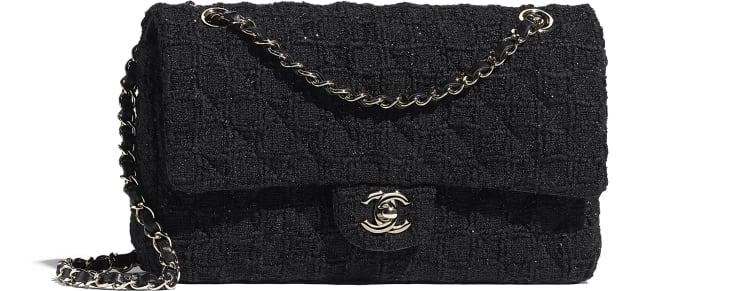 image 1 - Classic Handbag - Tweed & Gold-Tone Metal - Black