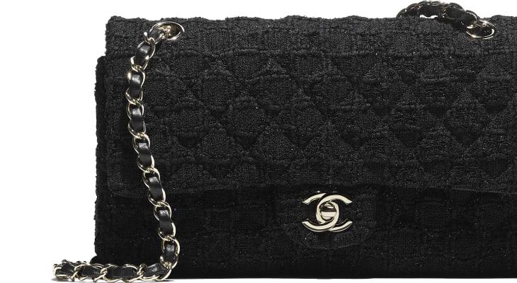 image 4 - Classic Handbag - Tweed & Gold-Tone Metal - Black