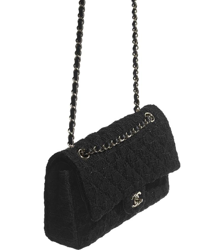 image 3 - Classic Handbag - Tweed & Gold-Tone Metal - Black