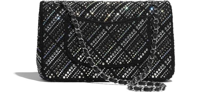 image 2 - Classic Handbag - Tweed, Strass & Silver-Tone Metal - Black
