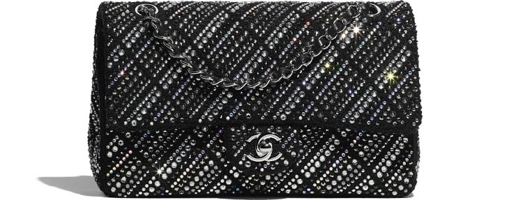 image 1 - Classic Handbag - Tweed, Strass & Silver-Tone Metal - Black