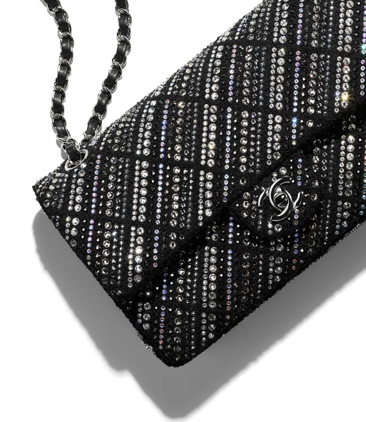 image 4 - Classic Handbag - Tweed, Strass & Silver-Tone Metal - Black