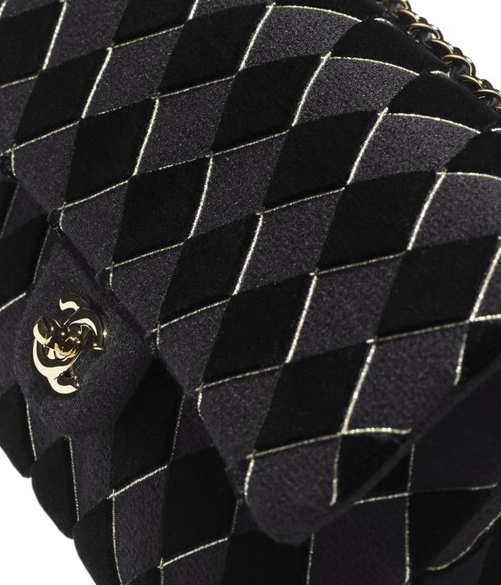 image 4 - Classic Handbag - Tweed, Velvet & Gold-Tone Metal - Black