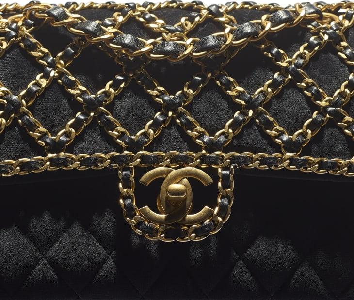 image 4 - Bolsa Clássica - Veludo & Metal Dourado - Preto