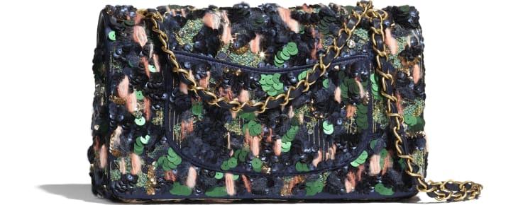 image 2 - クラシック ハンドバッグ - サテン、ウール & スパンコール - ブルー、グリーン & ピンク