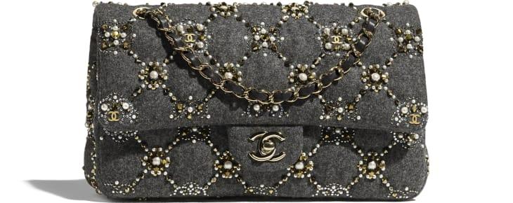 image 1 - Classic Handbag - Wool, Glass Pearls, Crystal Pearls & Gold-Tone Metal - Gray