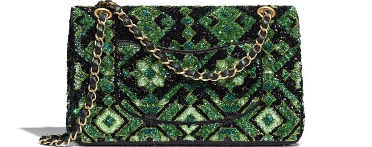 image 2 - Classic Handbag - Sequins & Gold-Tone Metal - Green & Black