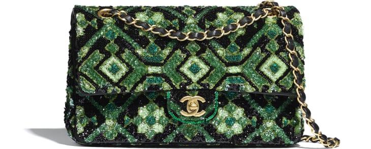 image 1 - Classic Handbag - Sequins & Gold-Tone Metal - Green & Black