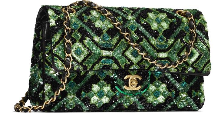 image 4 - Classic Handbag - Sequins & Gold-Tone Metal - Green & Black