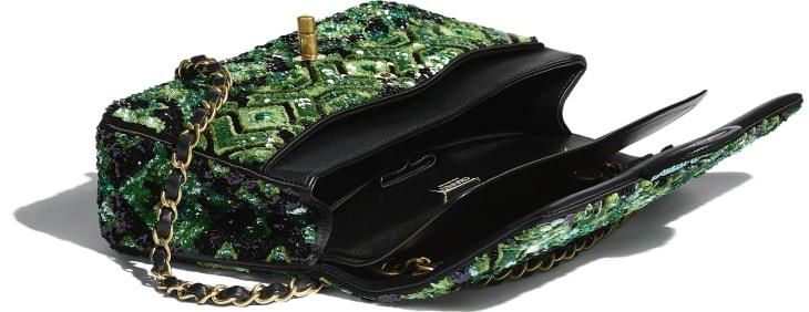 image 3 - Classic Handbag - Sequins & Gold-Tone Metal - Green & Black