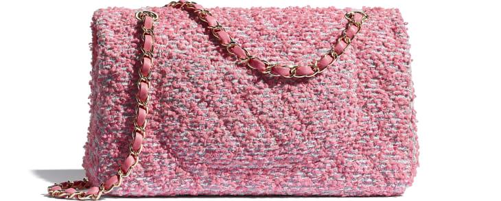 image 2 - Classic Handbag - Tweed & Gold-Tone Metal - Pink, White & Gray