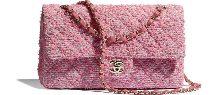 image 1 - Classic Handbag - Tweed & Gold-Tone Metal - Pink, White & Gray