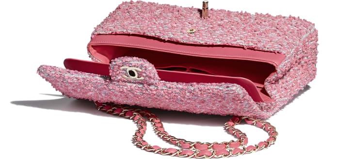 image 3 - Classic Handbag - Tweed & Gold-Tone Metal - Pink, White & Gray