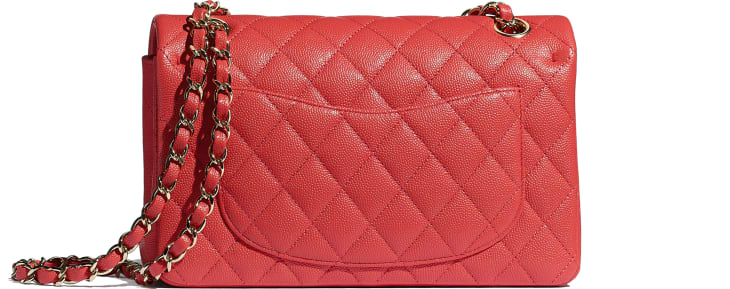 image 2 - Classic Handbag - Grained Calfskin & Gold-Tone Metal - Red