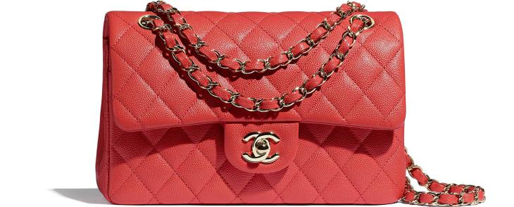 image 1 - Classic Handbag - Grained Calfskin & Gold-Tone Metal - Red