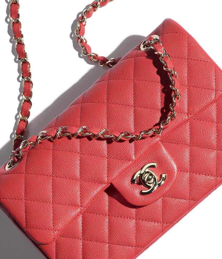 image 4 - Classic Handbag - Grained Calfskin & Gold-Tone Metal - Red