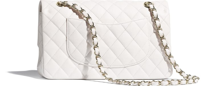image 2 - Classic Handbag - Grained Calfskin & Gold-Tone Metal - White