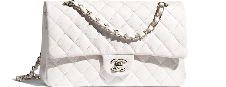 image 1 - Classic Handbag - Grained Calfskin & Gold-Tone Metal - White