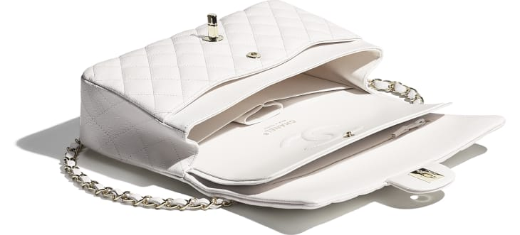 image 3 - Classic Handbag - Grained Calfskin & Gold-Tone Metal - White