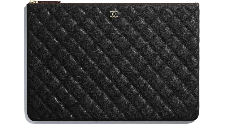 image 1 - Classic Large Pouch - Grained Calfskin & Gold-Tone Metal - Black