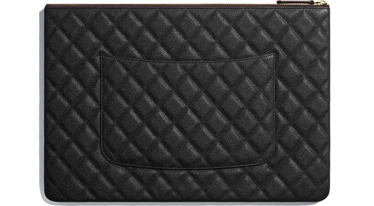 image 2 - Classic Large Pouch - Grained Calfskin & Gold-Tone Metal - Black