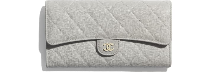 image 1 - Classic Long Flap Wallet - Grained Calfskin & Gold-Tone Metal - Gray