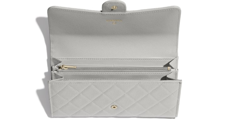 image 2 - Classic Long Flap Wallet - Grained Calfskin & Gold-Tone Metal - Gray