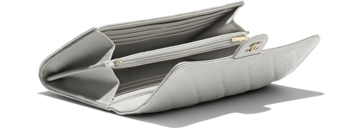 image 3 - Classic Long Flap Wallet - Grained Calfskin & Gold-Tone Metal - Gray