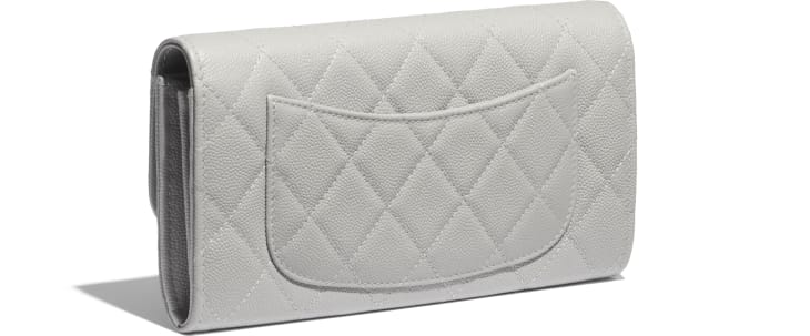 image 4 - Classic Long Flap Wallet - Grained Calfskin & Gold-Tone Metal - Gray